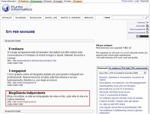 BlogOlanda.it su Punto Informatico