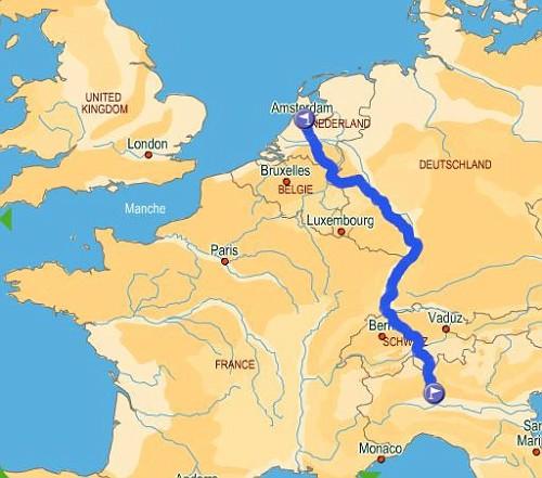 Itinerario Amsterdam Milano